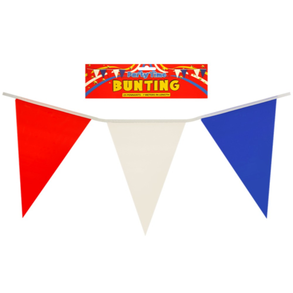Red, White and Blue Colour Bunting 7 Metere with 25 Pvc Pennants