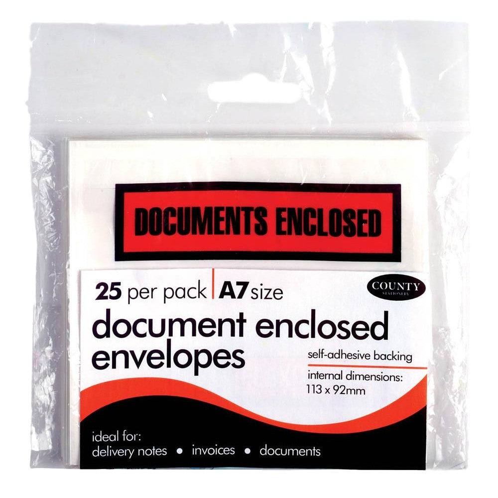 Pack of 25 A7 Document Enclosed Envelopes
