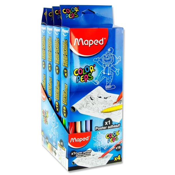Pack of Color'peps 30cm x 3.6m Adhesive Colouring Roll and 18 Markers by Maped