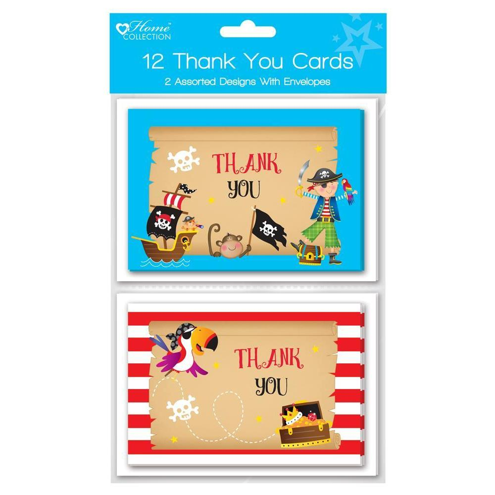 Pack of 12 Pirates Thank you Cards - 2 Assorted Designs