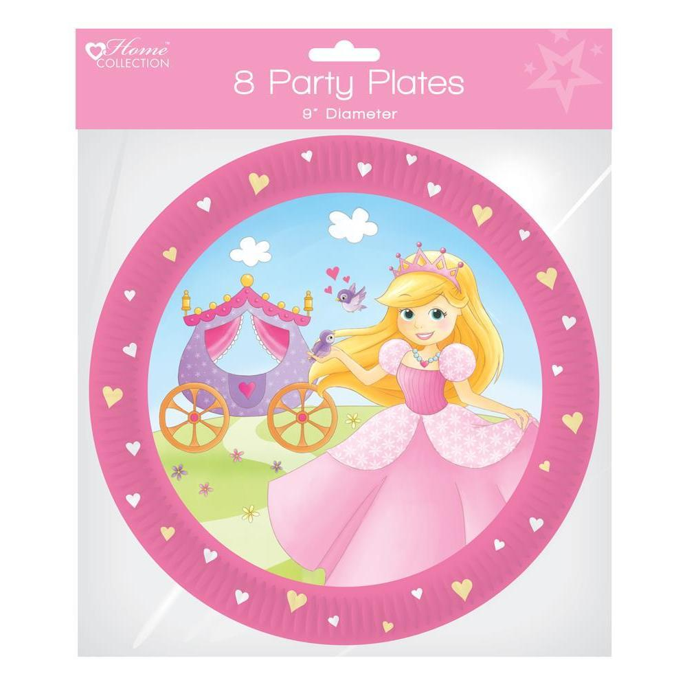 "Pack of 8 Princess Party Plates - 9"" Diameter"