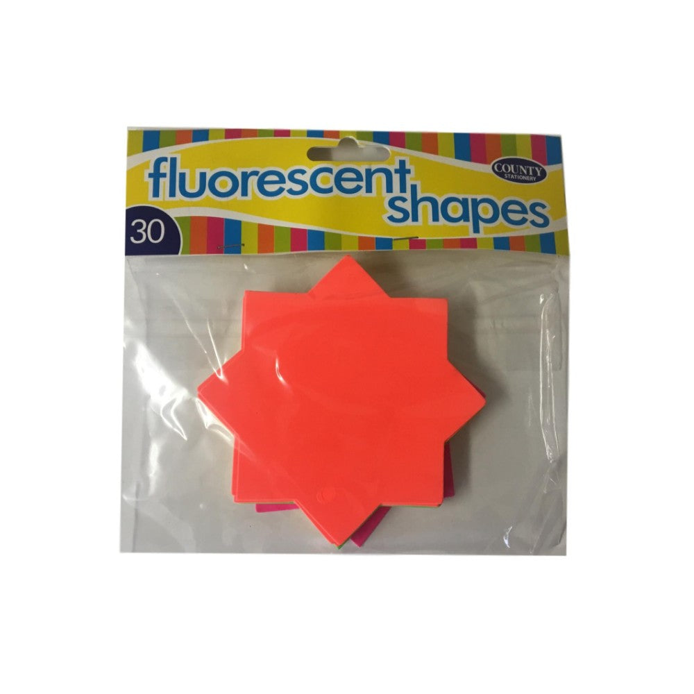 30 Fluorescent Star Shapes 100mm