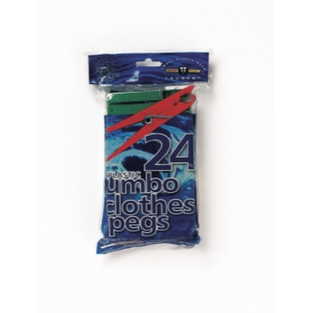 Plastic Jumbo Clothes Pegs (24 Pack)