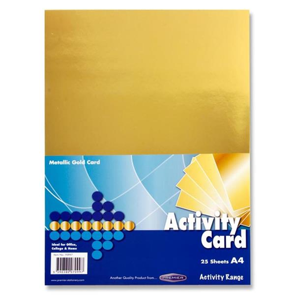 Pack of 25 Activity Gold A4 Card by Premier