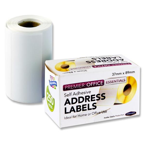 Roll of 250 89x37mm Address Labels by Premier Office