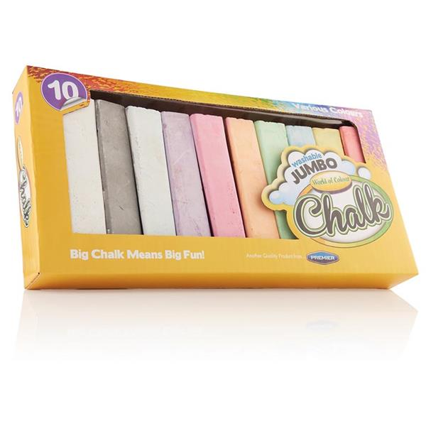 Box of 10 Jumbo Coloured Chalk by World of Colour