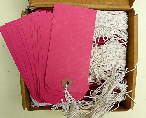 250 Large Reinforced Red Strung Tags Luggage Labels 120 x 60mm