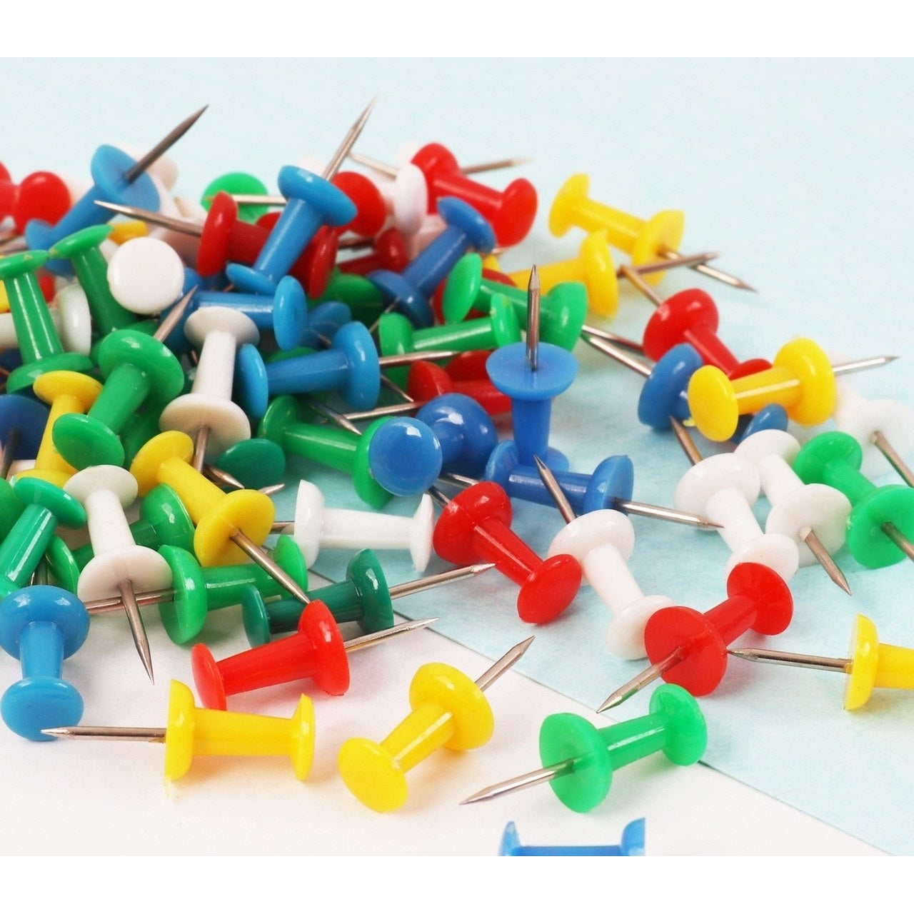 Pack of 30 Assorted Colour Push Pins in Hanging Case