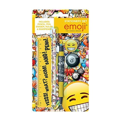 Emoji 5 Piece Childrens Stationery Set with 3D Rubber Back to School