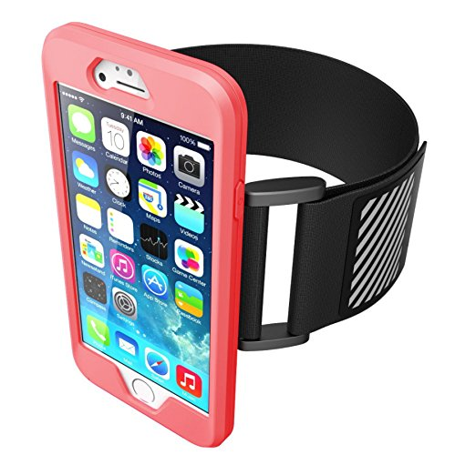 Funda deportiva para iPhone 6 y 6s color rosa con banda negra