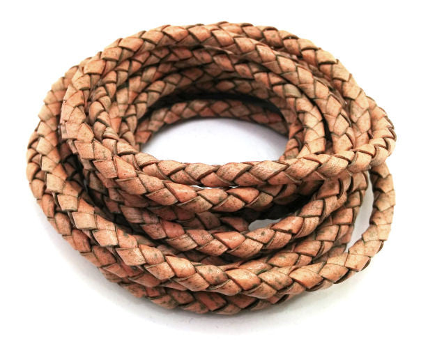 Antiqued Beige Braided Leather Eyeglass Cord