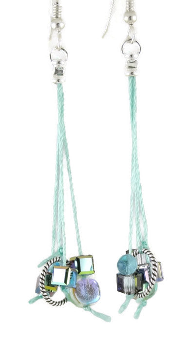 Aqua Silk Dangles Earrings