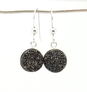 Round Druzy Earrings Gunmetal With Sterling Silver Trim