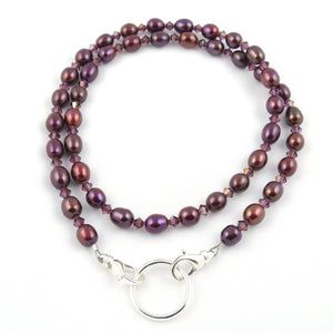 Chocolate Cherry Freshwater Pearl Eyeglass Necklace