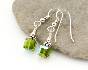 Swarovski Crystal Cube Earrings - Olivine
