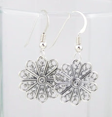Sterling Silver Antiqued Filigree Flower Earrings