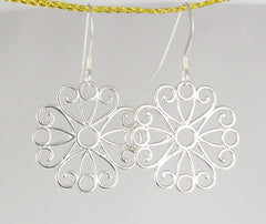 Sterling Silver Filigree Flower Earrings