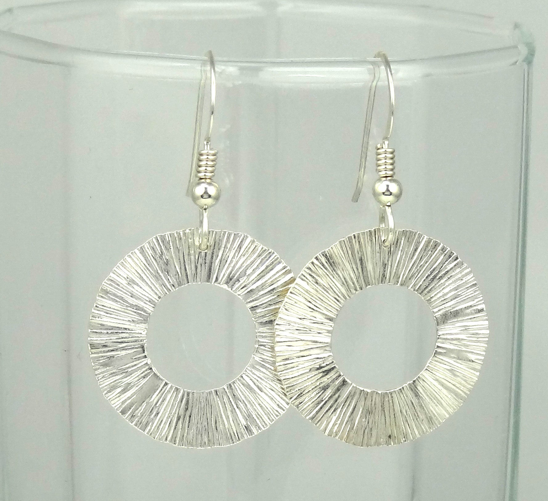 Textured Starburst Sterling Silver Ring Earrings