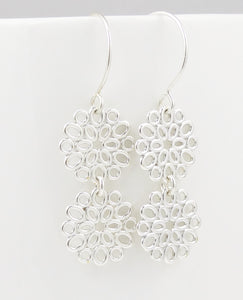Geometric Sterling Ovals Double Flower Earrings