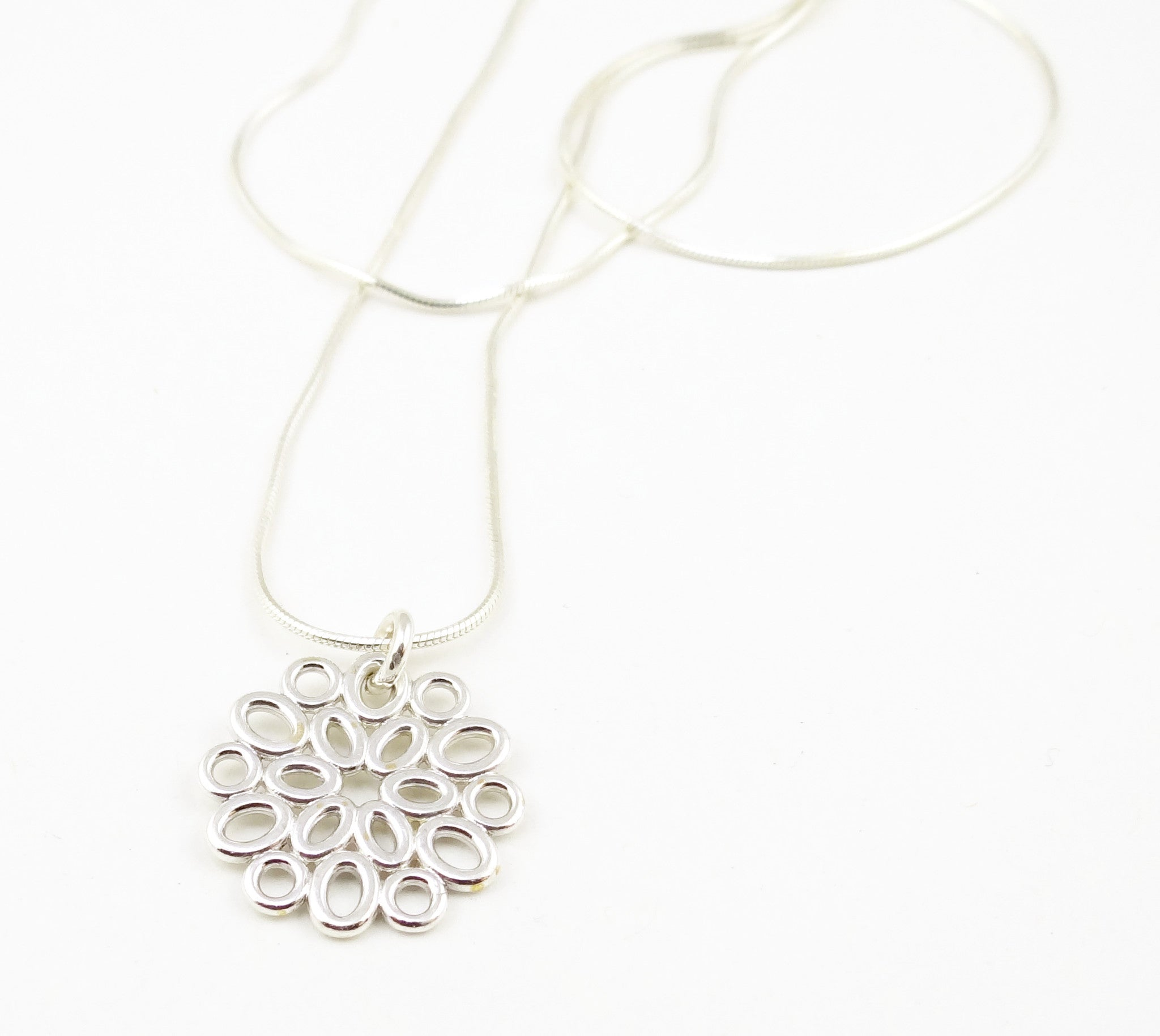 Geometric Sterling Ovals Flower Necklace