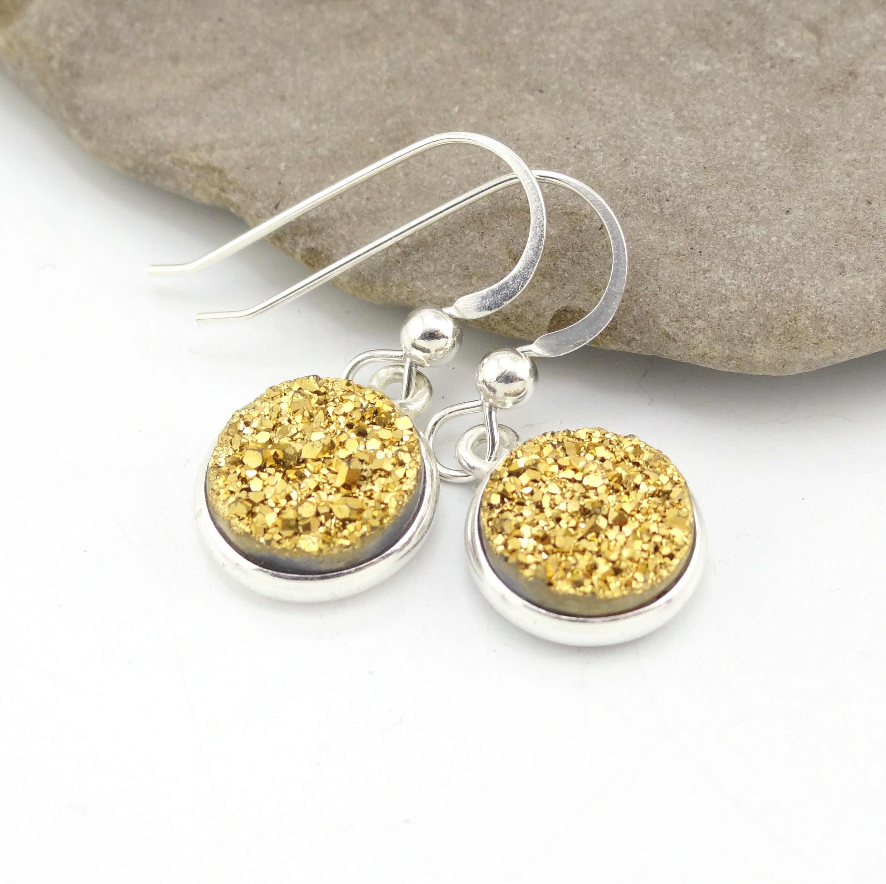 Sparkly Round Druzy Earrings Gold With Silver Trim
