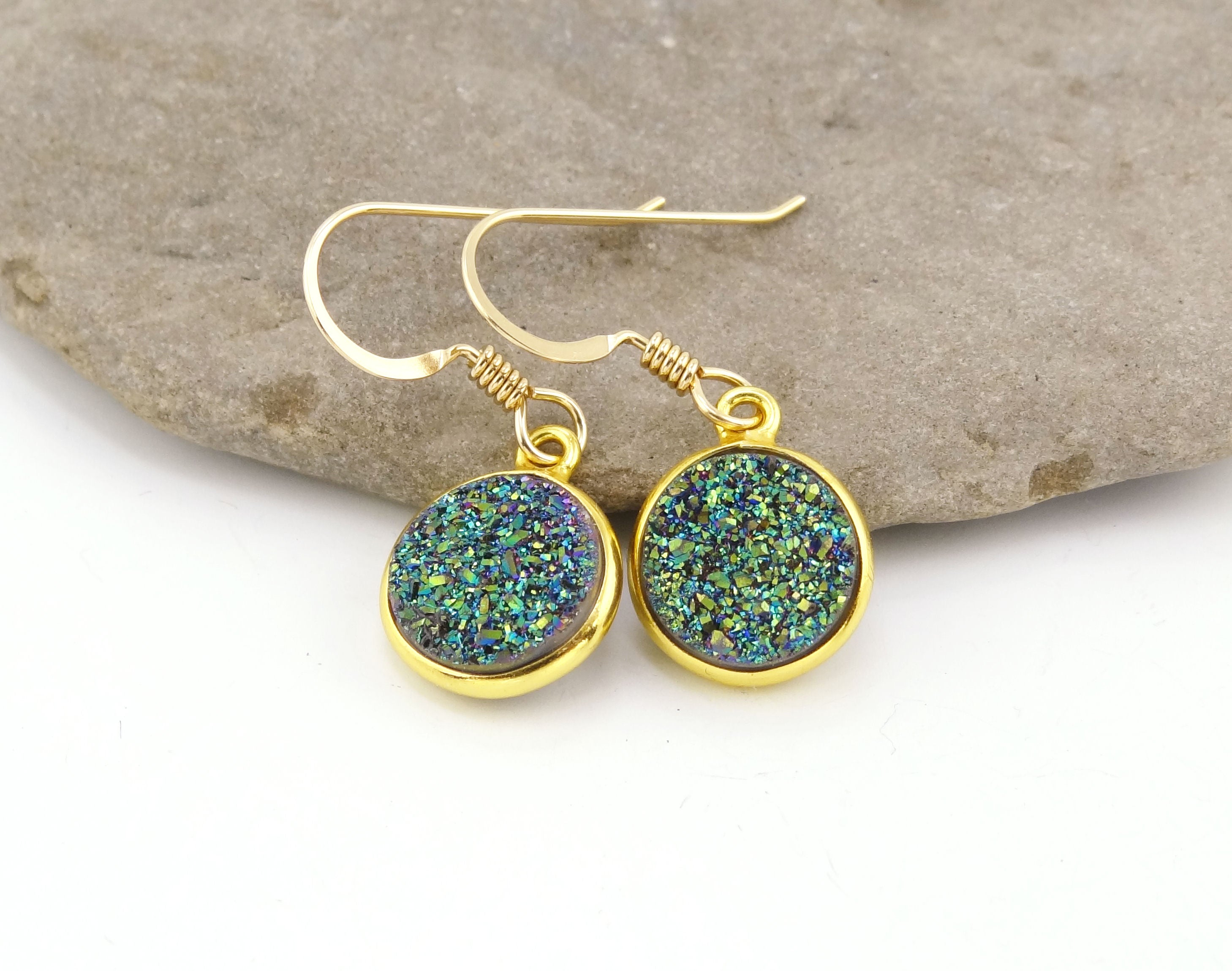Round Druzy Earrings Iridescent Green With Gold Trim