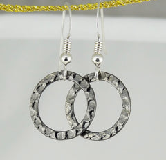 Simple Gunmetal-Finished Steel Ring Earrings