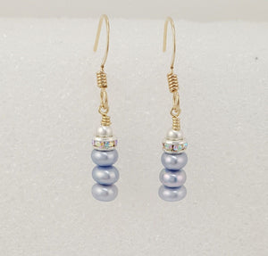 Stacked Lavender Freshwater Pearl Sparkle Earrings