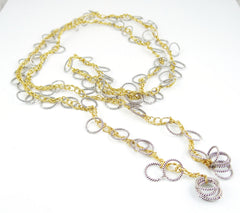 Mixed Metal Loopy Lariat Necklace