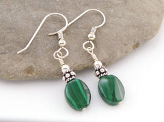 Malachite Oval Earrings