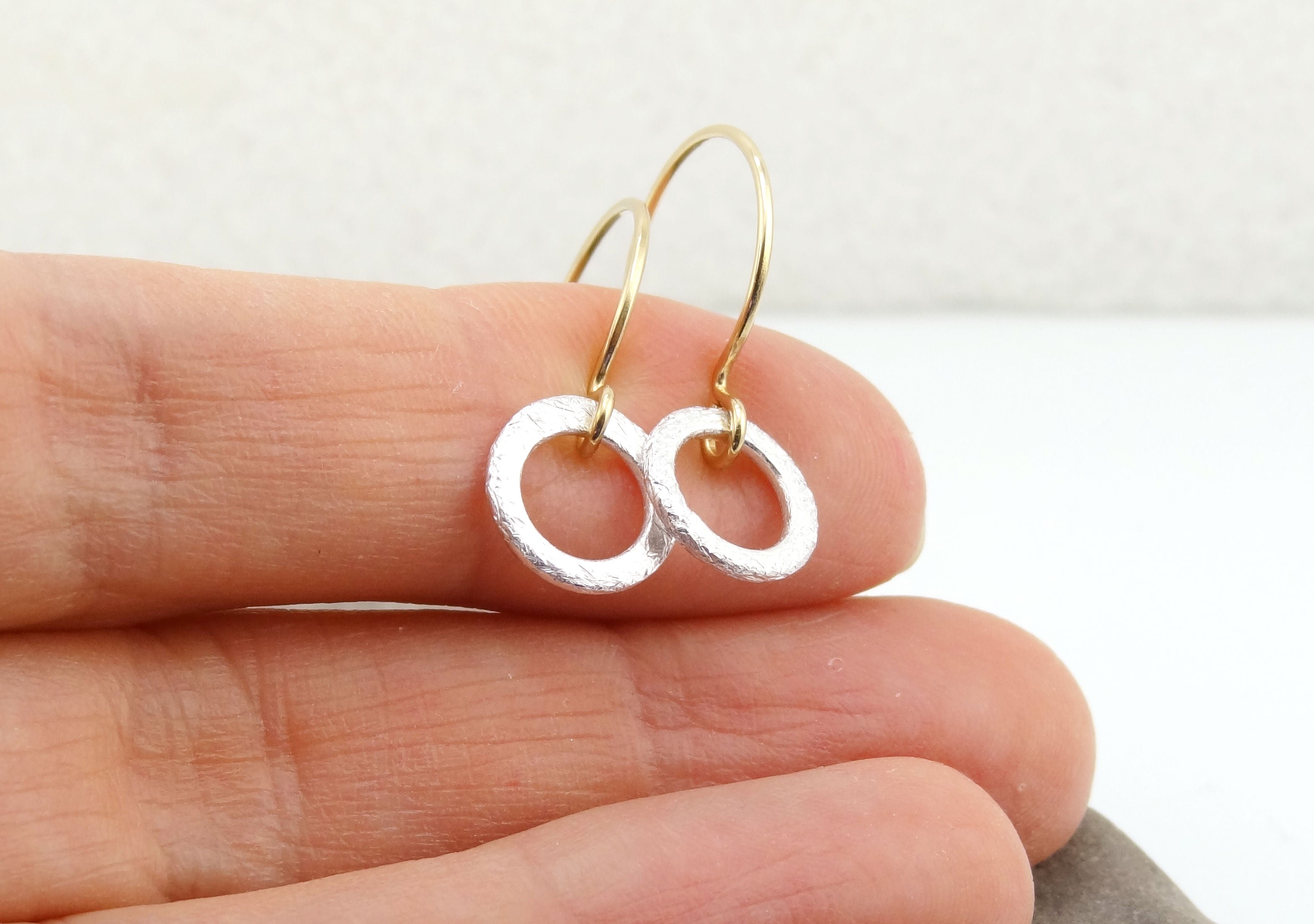 Mixed Metal Mini Silver Ring Earrings