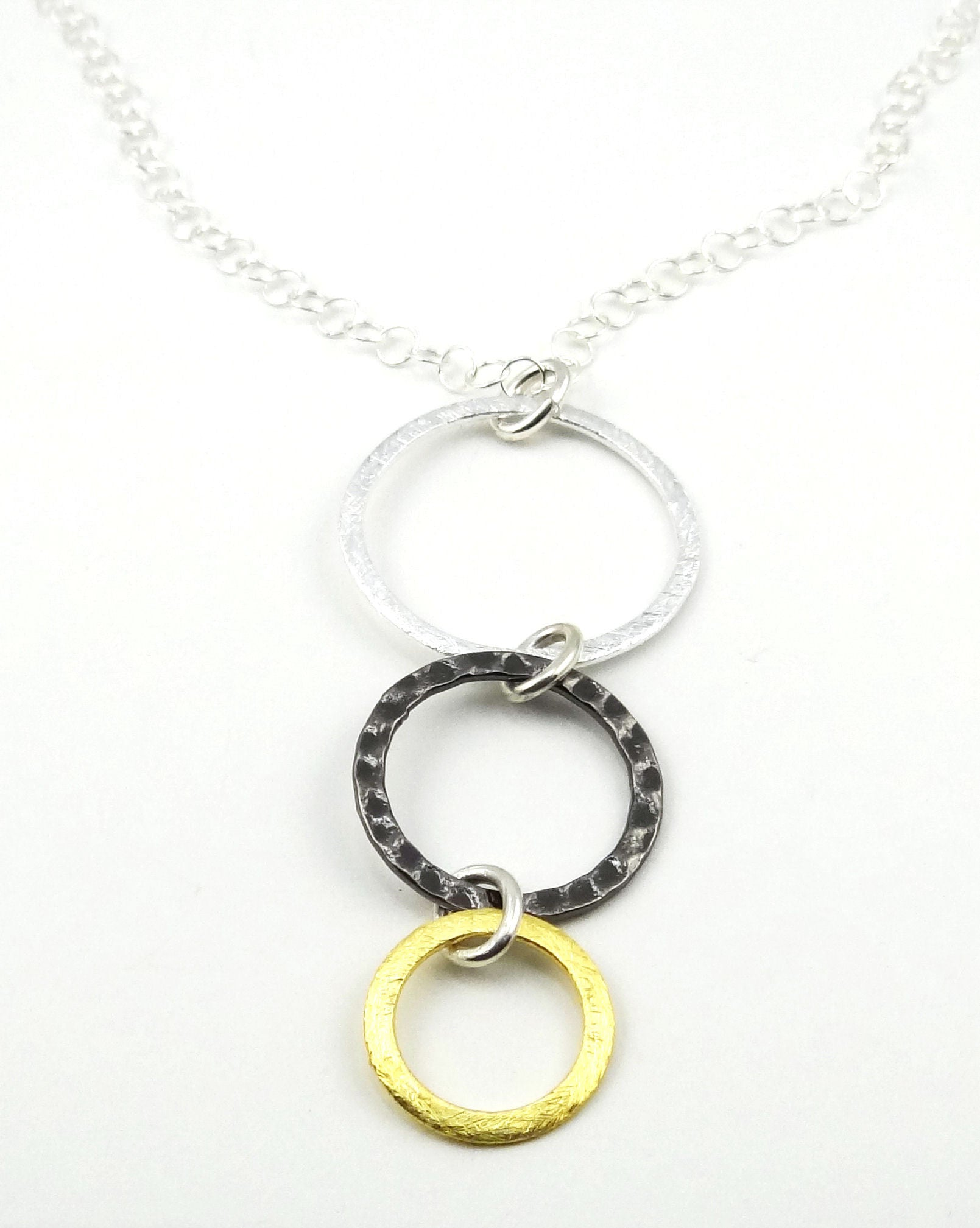 Mixed Metal #2 - Silver, Steel & Gold Triple Ring Necklace