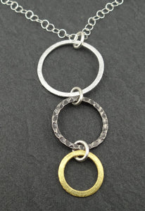 Mixed Metal #2 - Silver, Steel & Gold Triple Ring Eyeglass Necklace