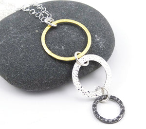 Mixed Metal - Gold, Silver, & Steel Triple Ring Eyeglass Necklace