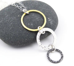 Mixed Metal - Gold, Silver, & Steel Triple Ring Necklace