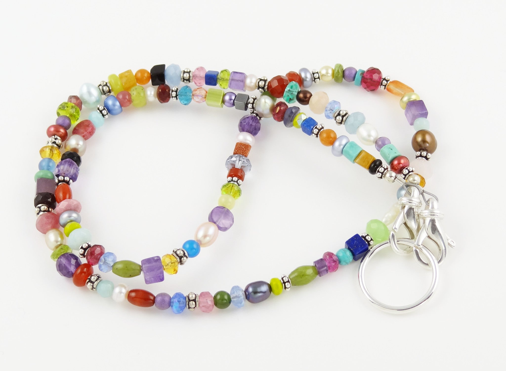 Colorful Gemstone & Pearl Eyeglass Necklace