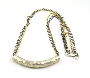Mixed Metal Hammered Silver Tube Necklace