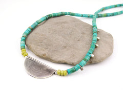 Turquoise, Jade, and Bali Silver Necklace