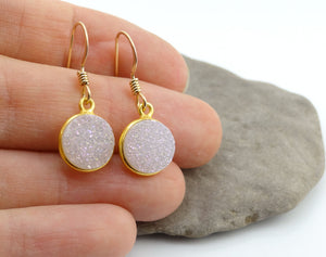 Round Druzy Earrings Iridescent Opal With Gold Trim