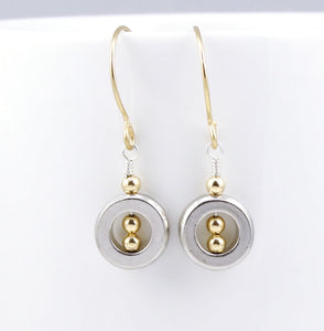 As Seen on Rizzoli & Isles Geometric Pewter & Gold Earrings