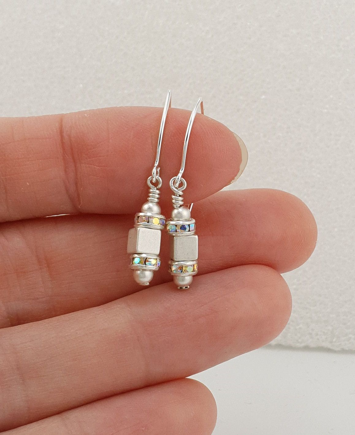 Silver Cube Sparkle Earrings