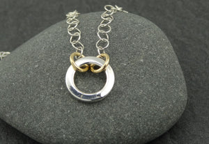 Mixed Metal Simple Sterling Ring Necklace