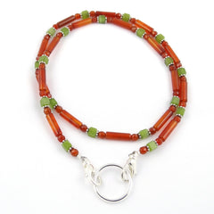 Carnelian & Jade Eyeglass Necklace