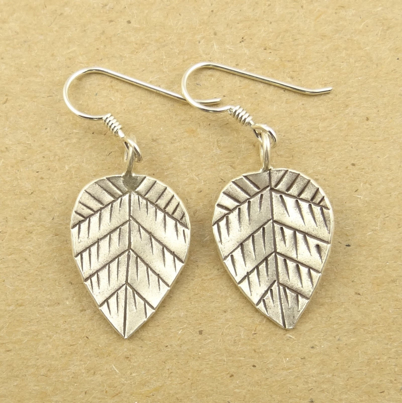Concave Hill Tribe Silver Leaf Earrings