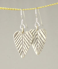 Hill Tribe Silver Long Heart-Shaped Leaf Earrings