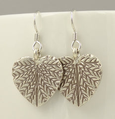 Hill Tribe Silver Heart-Shaped Leaf Earrings