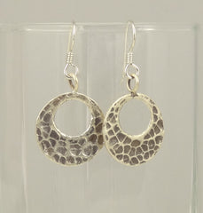 Hill Tribe Silver Open Hammered Circle Earrings