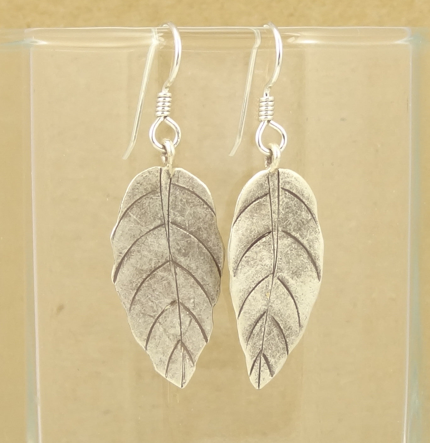 Hill Tribe Silver Long Leaf Earrings
