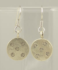 Hill Tribe Silver Stamped Disk Earrings