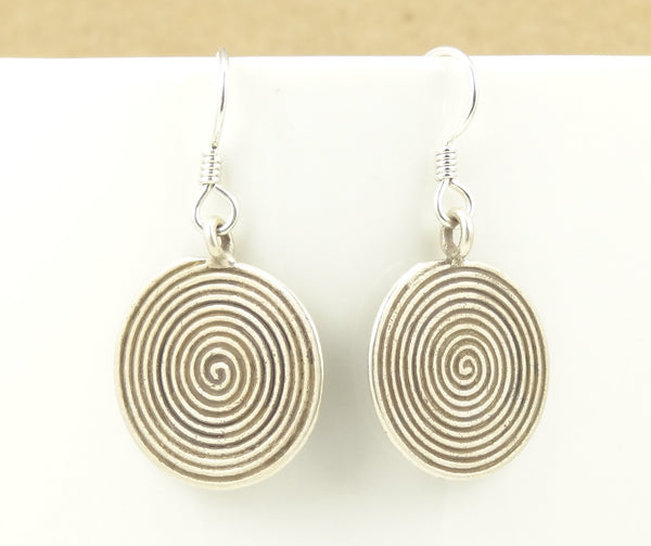 Concentric Circle Earrings: Hill Tribe Silver Concentric Circles Disk Earrings
